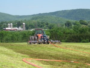 A drag line is used for aeration of liquid manure at Audet's Blue Spruce Farm in Bridport, Vermont. Photo by Blue Spruce Farm