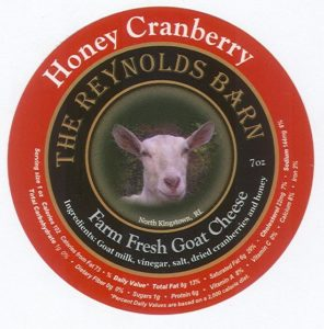 The honey cranberry goat cheese has a sweet taste and smooth texture. It tastes great on bagels or sliced apples. The label has our first Saanen goat named Angel.