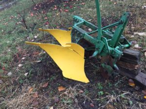 One of the author's two bottom plows withcoulters to slice through the soil.