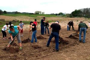 Planting Iroquois white corn