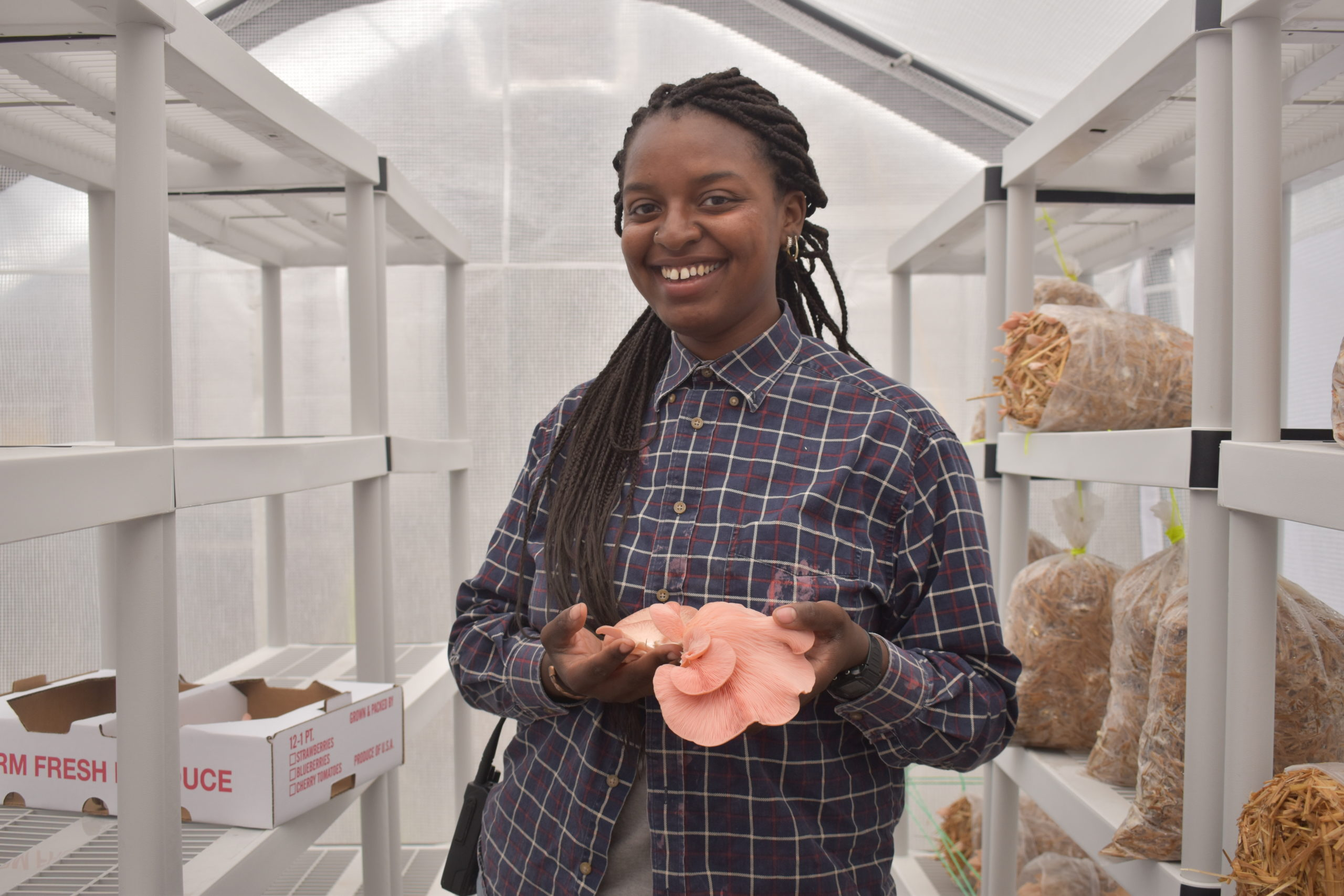 Nailah shows off mushrooms from a harvest. Amy Wu / Hudson Valley Farm Hub