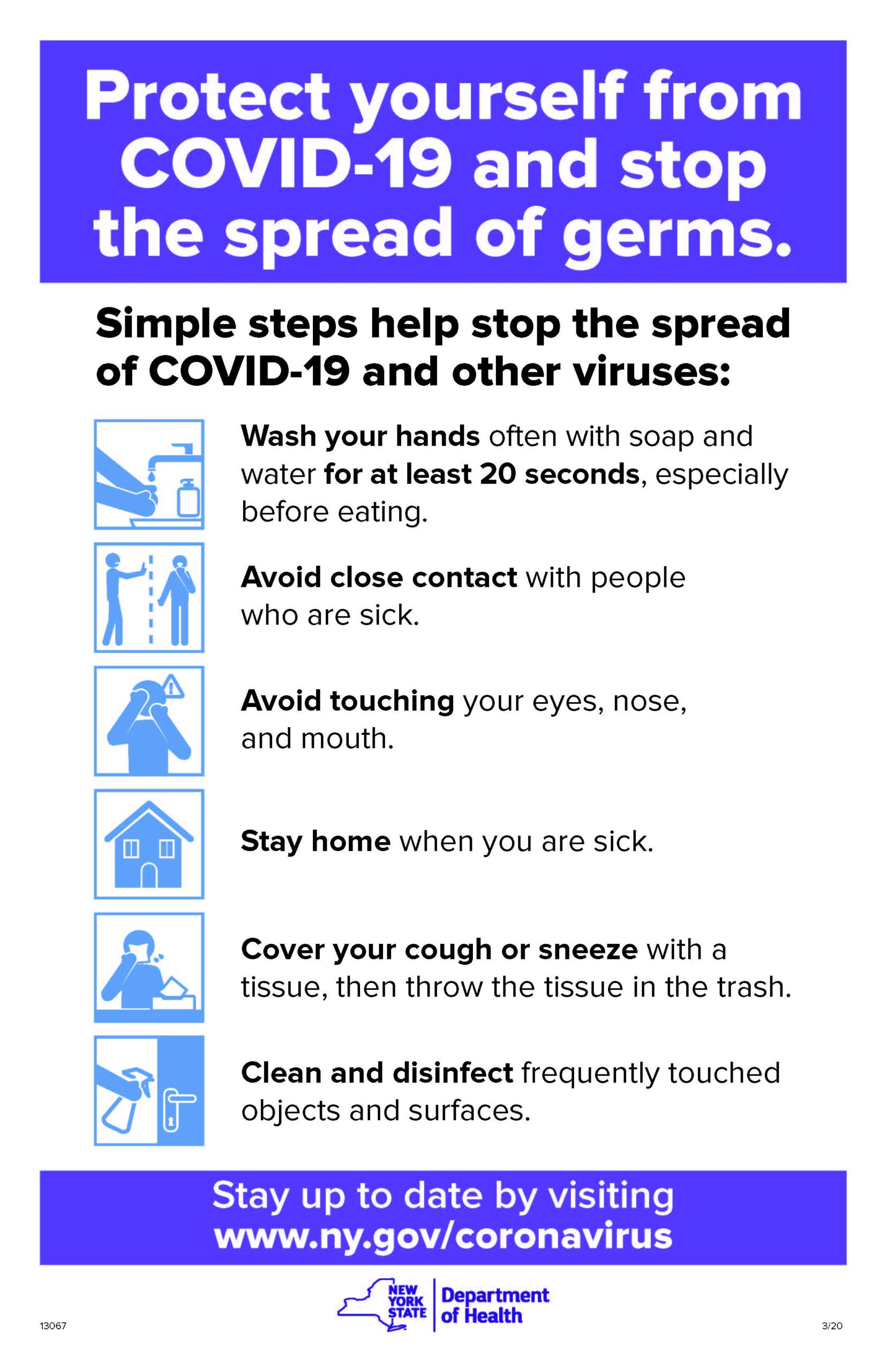 "Poster from NYS Department of Health detailing the ""Stop the Spread"" efforts to protect yourself from COVID-19"